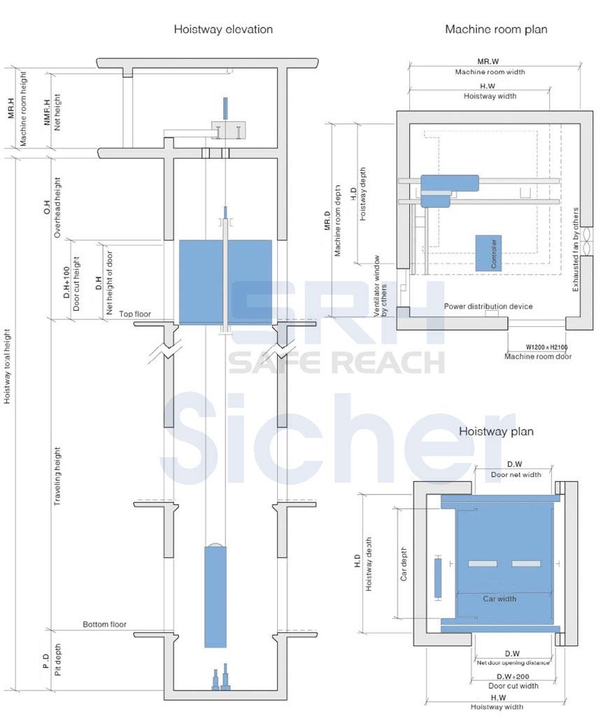 sơ đồ bản vẽ thang máy tải trọng lớn